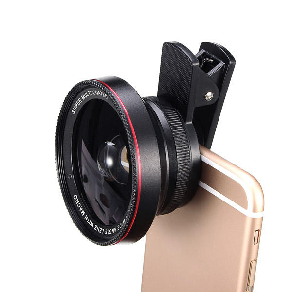 LIEQI LQ-025 2-In-1 Lens Kit 0.6X Wide Angle+15X Macro Camera Lens With Universal Clip