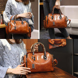 Women Vintage Handbag Oil Wax Leather Crosssbody Bag - EY Shopping