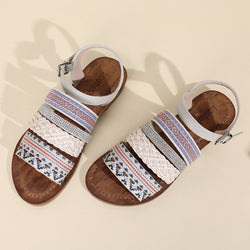 Lostisy Women Casual Bohemia Weave Stitching Buckle Flat Sandals