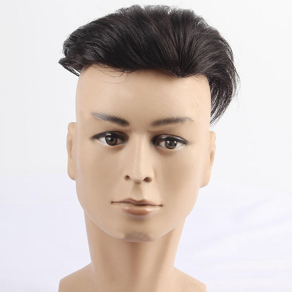 Seamless Hairline Reissue Top Hand Woven Real Hair Block Wig Male