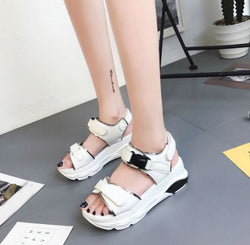 Buckle Leather Sandals Women Spring Thick Bottom Shoes Fashion Casual High Platform Sandals Med Heel Wedges Walk Shoes