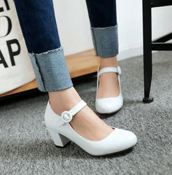 2020 Women Shoes Mary Jane Ladies Round Toe High Heels White Wedding Shoes Thick Heel Pumps Lady Shoes