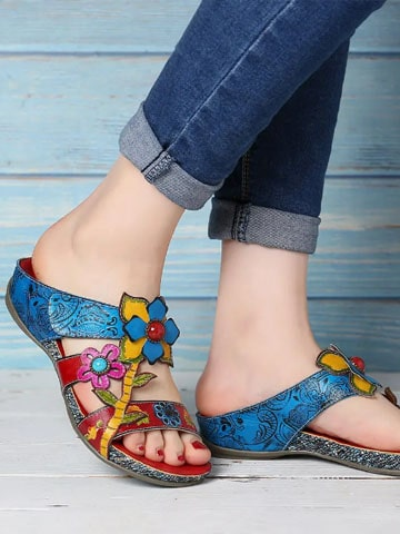 SOCOFY Genuine Leather Handmade Stitching Floral Wedge Sandals