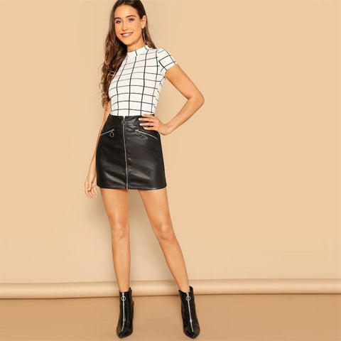 Black and White Plaid Peplum Stand Collar Belted Top