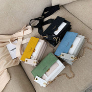 Scrub Leather Contrast Color Crossbody Bag