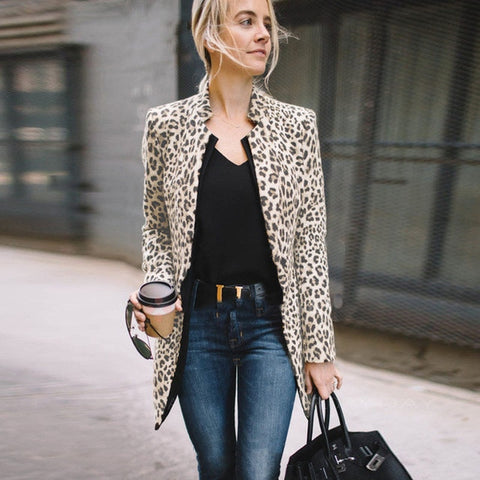 Leopard Printed Sexy Winter Warm Long Cardigan Coat
