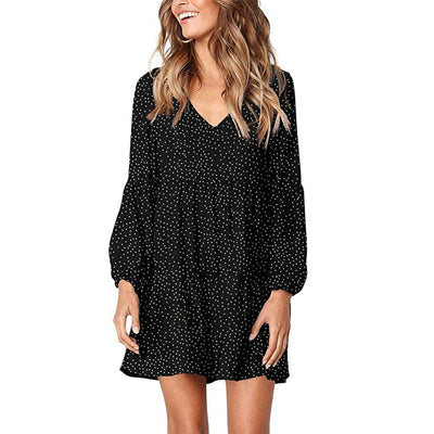 V-Neck Sexy Polka Dot Black Mini Dress