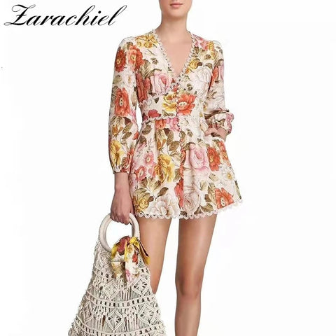 Bohemia Floral Printed Patchwork Lace Trims Playsuit