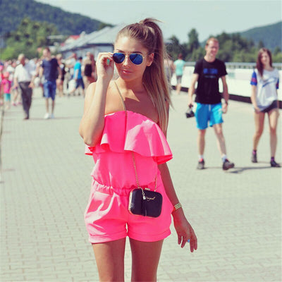 Spring And Summer New Fashion Women's Off-the-shoulder Playsuit