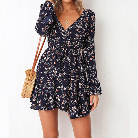 V-Neck  Long-Sleeved Printed floral dress