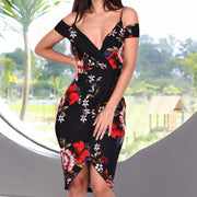 Off Shoulder Floral Print Boho Women Dress