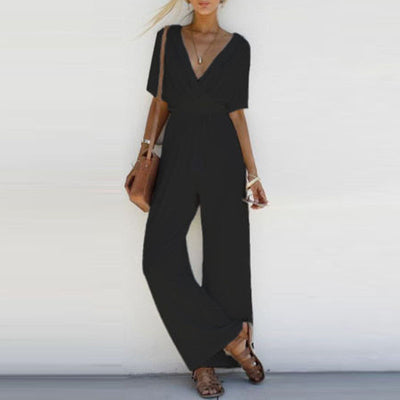 New Fashion Women V Neck Loose Jumpsuit