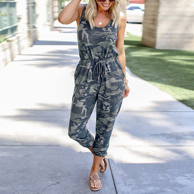 High waist Lace up loose plus size sleeveless jumpsuit