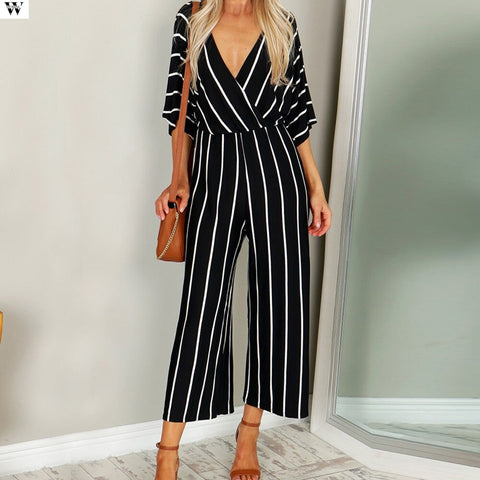 Casual Striped V-neck Overalls Jumpsuit