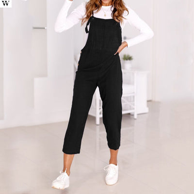 Summer Casual Solid  Black Jumpsuits