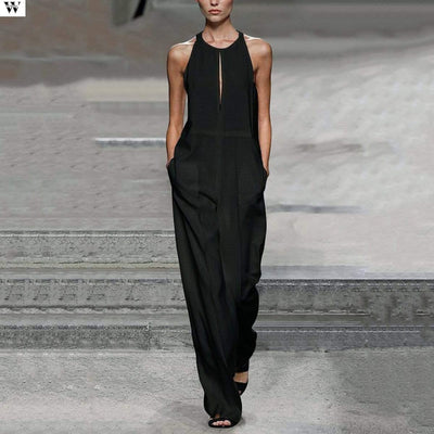 Summer New Casual Solid Women Black Jumpsuits
