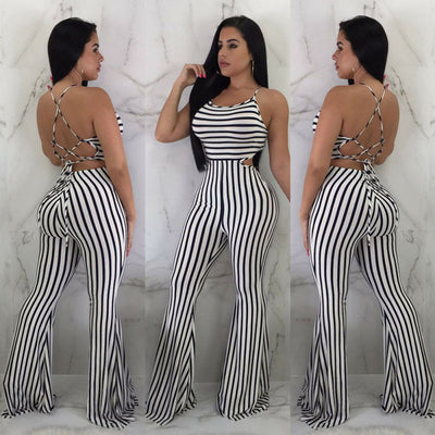 Blackless Clubwear Summer Striped Jumpsuit