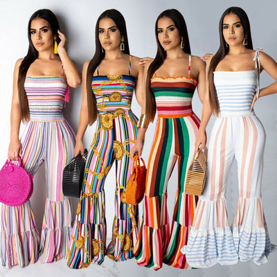 2020 Summer New Womens Striped Belt Jumpsuit