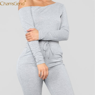 Spring Casual Sexy Off Shoulder Long Sleeve  Jumpsuit