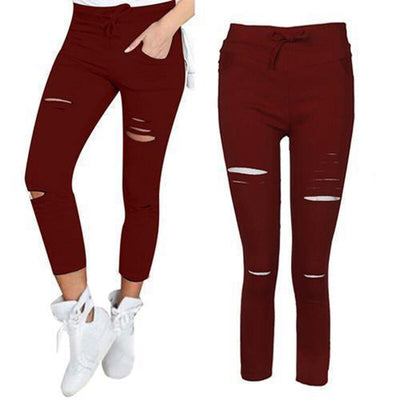 Women Skinny Ripped Knee Hole Jeans Pants