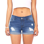 Low Waisted Washed Ripped Hole Short Mini Jeans