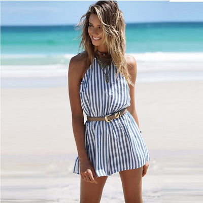sexy Backless sleeveless boho beach casual playsuit