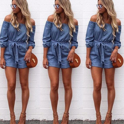 2020 Summer Women Slash Neck Clubwear Playsuit