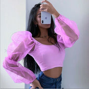 Sexy Mesh See Through Perspective Lantern Long Sleeve Crop Top