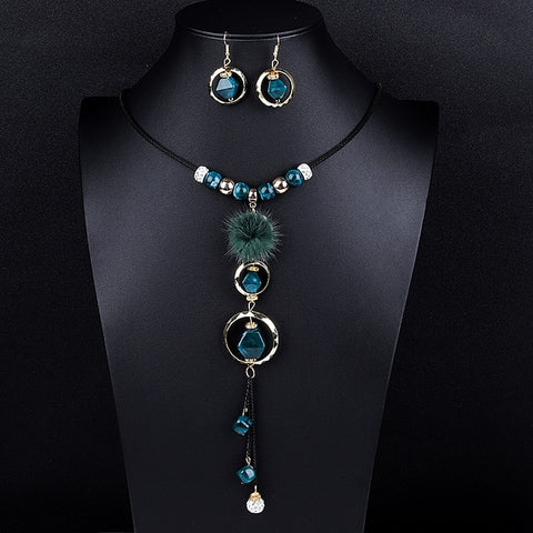 Necklace & Drop Earrings Jewelry Set For Women