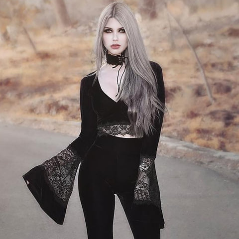 Flare Long Sleeve Lace Hollow Out Black T-shirt