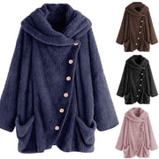 Women Solid Color Irregular Button Faux Fur Coat