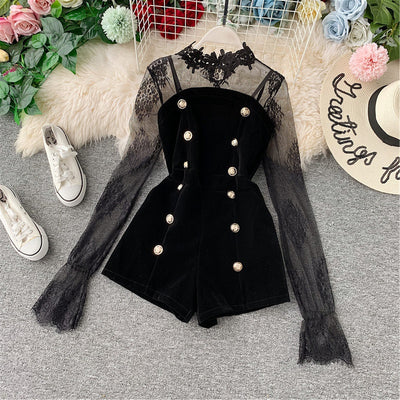 Women Elegant Long Sleeve Playsuit