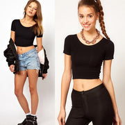 Solid  O-Neck Basic Tees Tops Cropped T-shirt