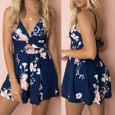 Women's Summer Sexy Printing V-neck Playsuit