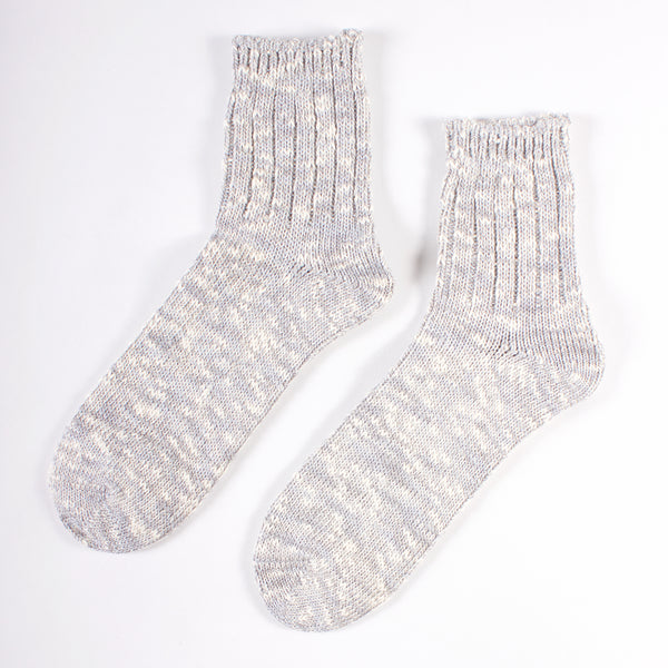 Slub Quarter Socks - Medium Grey