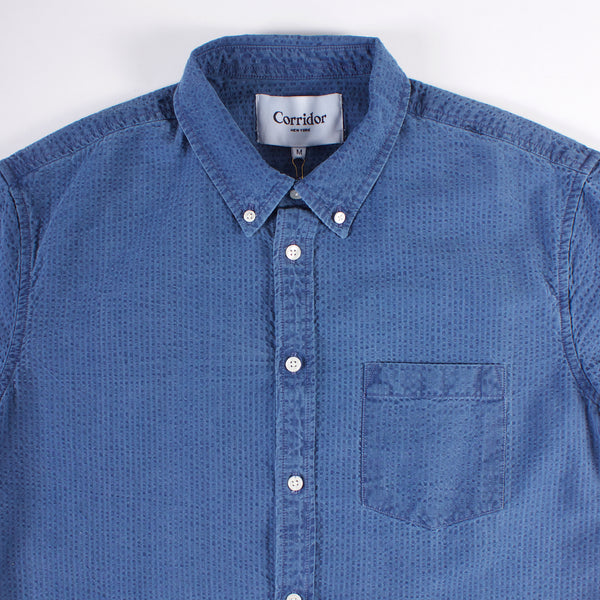 SS Buttonup Shirt - Heavy Washed Indigo Seersucker