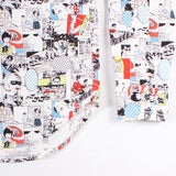LS Buttondown Shirt - White Anime Print