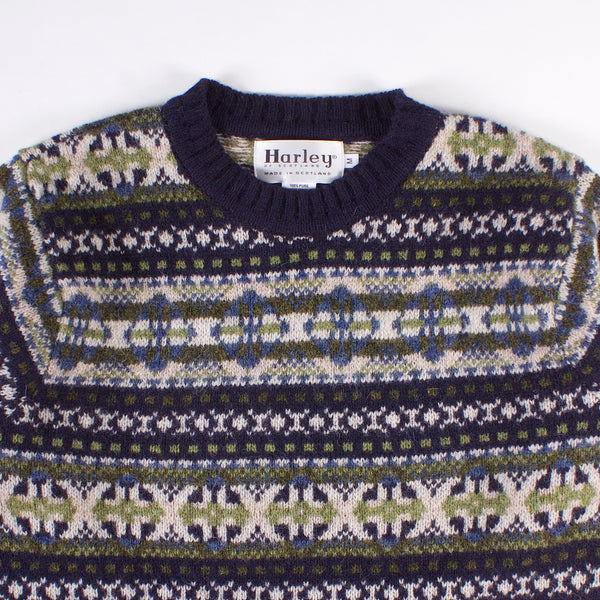 Shetland Fairisle Crewneck Sweater - Navy/Green
