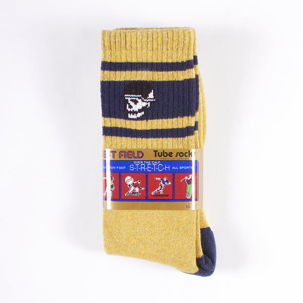 Premium Tube Socks - Mustard/Navy Skull Head