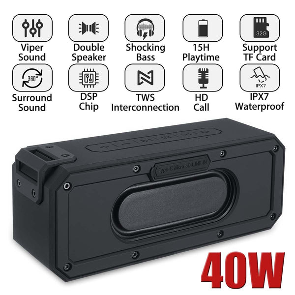 40W bluetooth Speaker Portable Speaker Waterproof Subwoofer 360 Stereo
