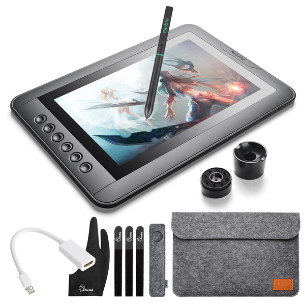 "Parblo Mast10 10.1"" 6 Keys Graphics Tablet Drawing Monitor with Battery-less Passive Pen+Mini DP to HDMI Adapter for Mac/Windows"