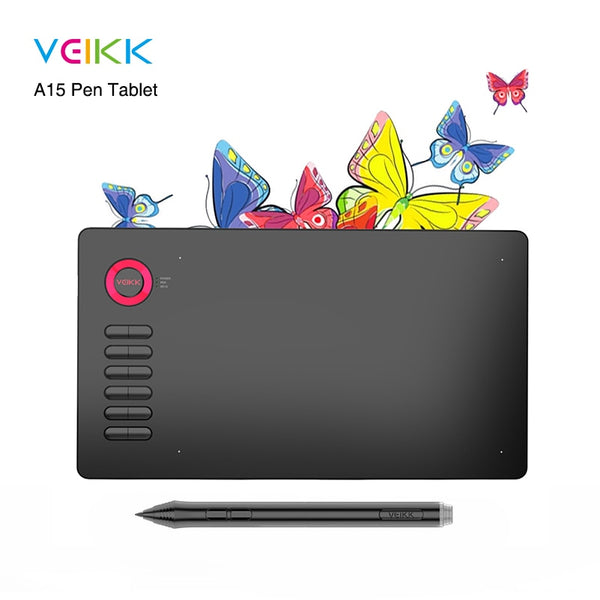 "VEIKK A15 Drawing Tablet Large area of 10"" x 6 "" 12 Keys,20 Nibs and 1 Glove( Red,Blue,Gold,Gray)"