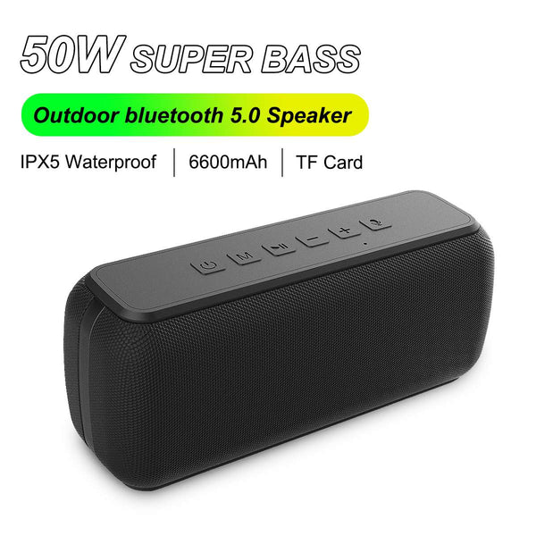50W bluetooth Speaker Column Soundbar Portable bluetooth 5.0 IPX5 Waterproof TWS Heavy Bass Loundspeaker  Subwoofer Boomboxes