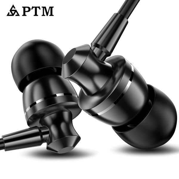 PTM Noise Canceling Earbuds HD HiFi Headset Super Bass Stere for Mobile phone for Iphone
