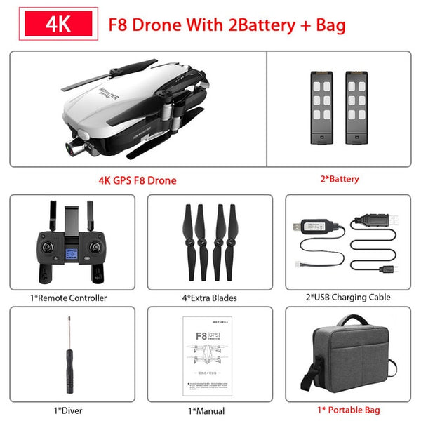F8 GPS Drone with Two-axis anti-shake Self-stabilizing gimbal Wifi FPV 1080P 4K Cam Brushless