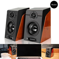 USB Wired Wooden Combination Speakers Computer Speakers Bass Stereo Music Player Subwoofer Sound Box For PC s