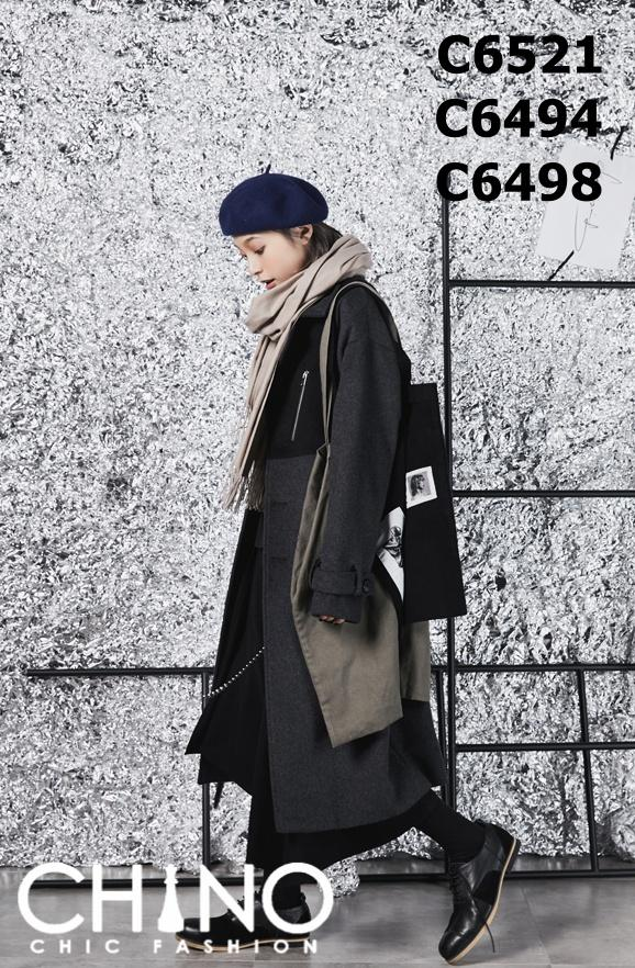 C6521 Charcoal x black mixed tone long woolen coat