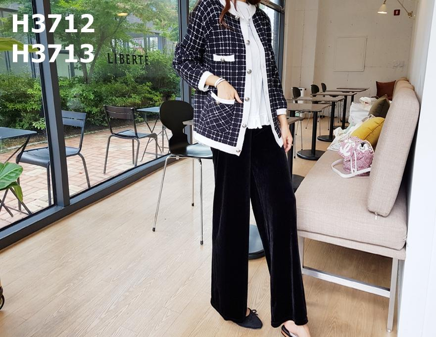 H3712 Black check knit cardigan