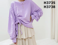 H3735 One side tied up sweatshirt