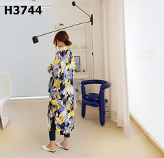 H3744 Skyblue x yellow long shirt